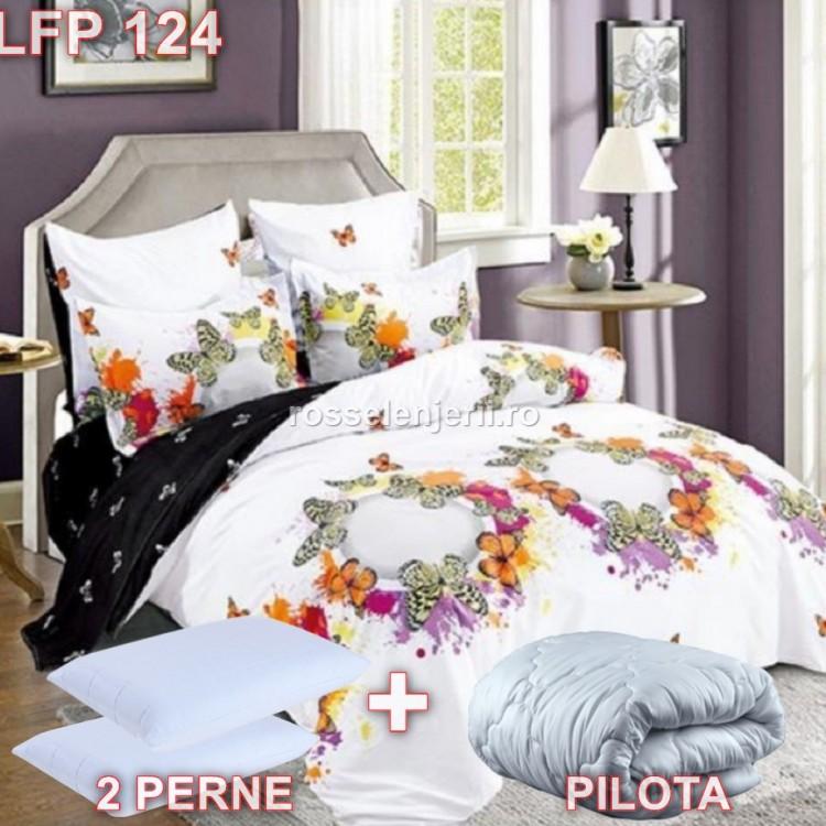 Pachet promoțional Lenjerie finet, perne și pilotă (cod LFP124)