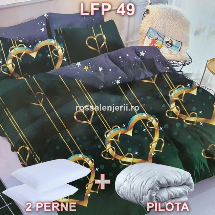 Pachet promoțional Lenjerie finet, perne și pilotă (cod LFP49)